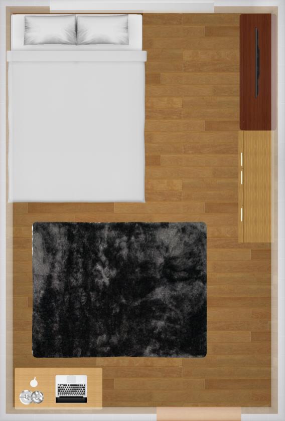 7畳にセミダブルベッドを置いた家具配置例