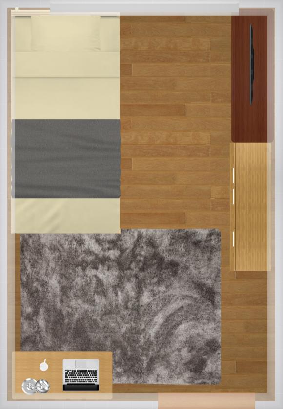 5畳にシングルベッドを置いた家具配置例