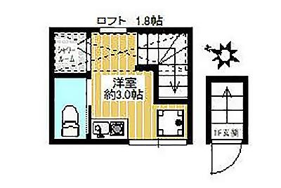 大島にある3畳ワンルームの間取り図