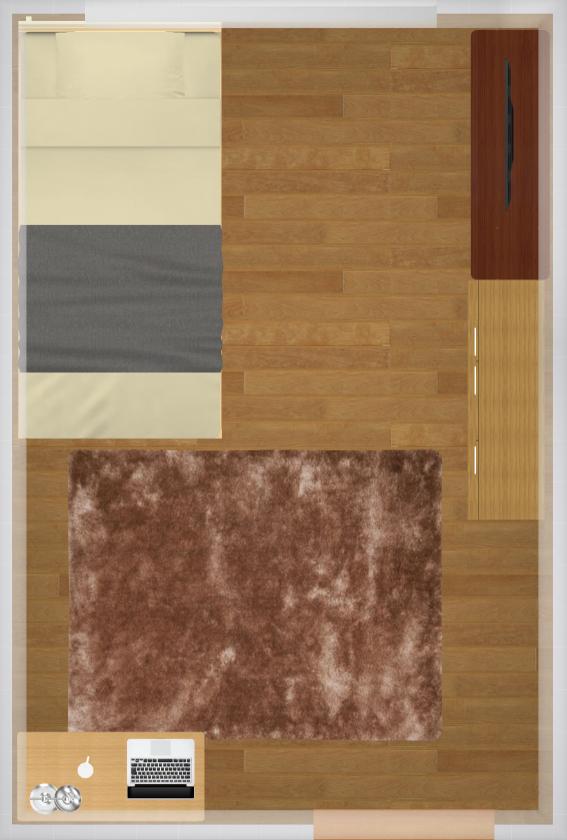 6畳にシングルベッドを置いた家具配置例