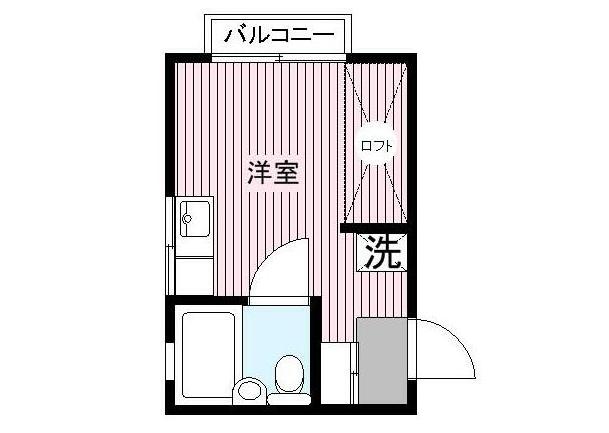 下赤塚にある3畳ワンルームの間取り図