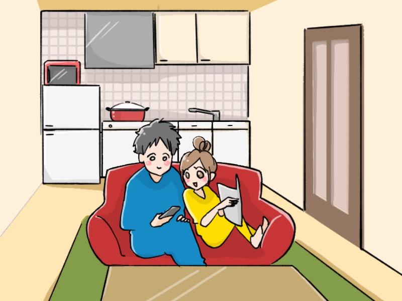 1LDKで同棲するカップルのイラスト