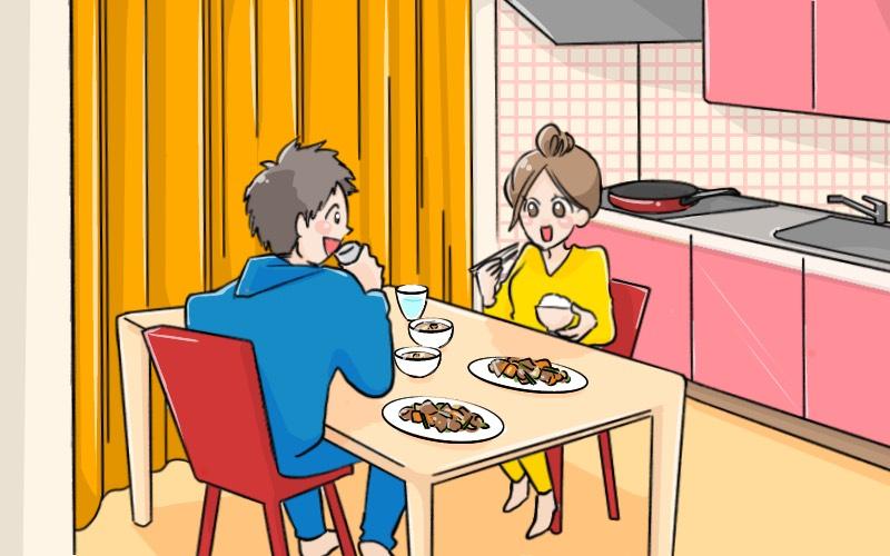 2DKで同棲するカップルのイラスト