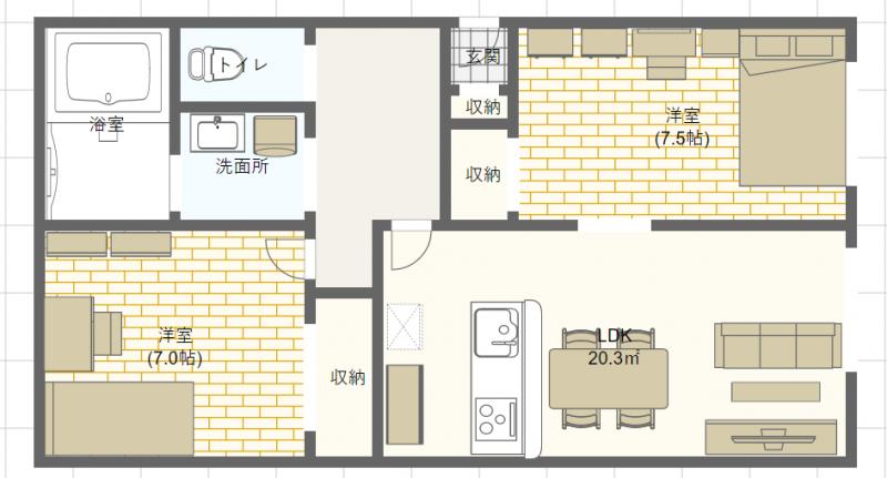 65平米のお部屋の間取り図