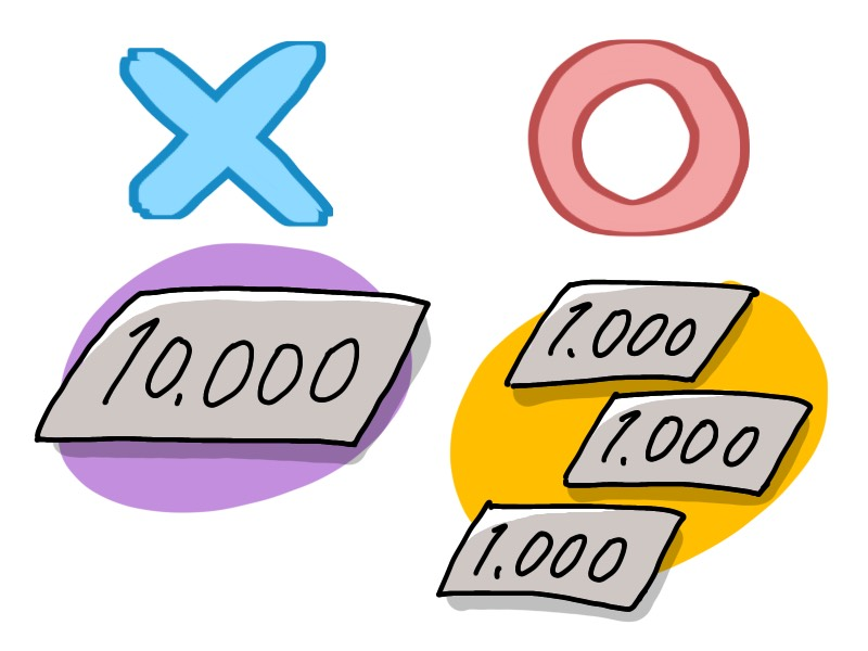 1万円札と2千円札