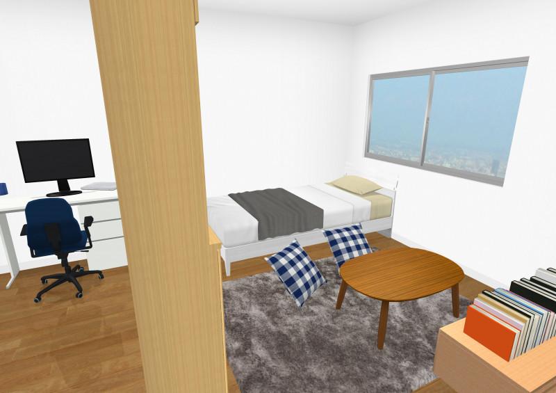 お部屋を棚で2分割したレイアウト(3D)