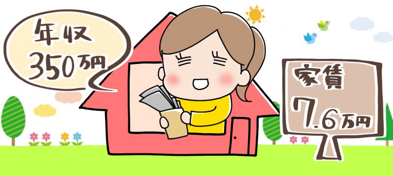年収350万円の家賃目安のイメージイラスト