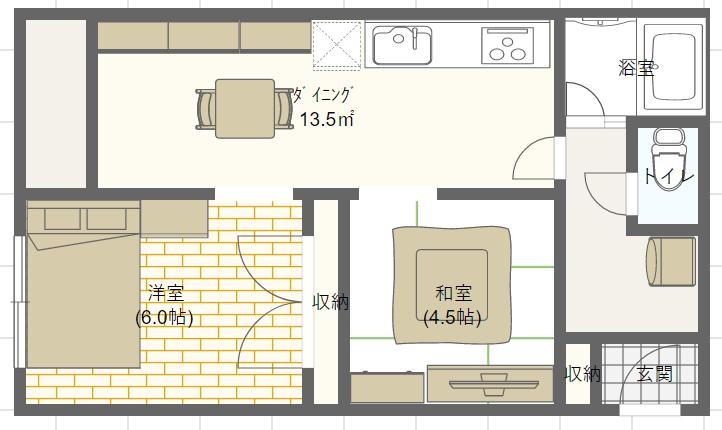 2DKで1つを寝室もう1つをリビングとして使う場合のレイアウト
