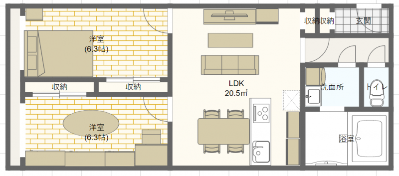 居室を寝室とウォークインクローゼットとして使う場合のレイアウト例