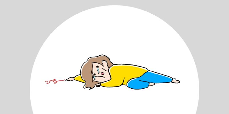 暇すぎて倒れている女の子のイラスト