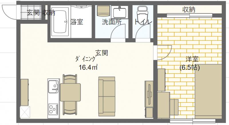 1LDKの家具配置例