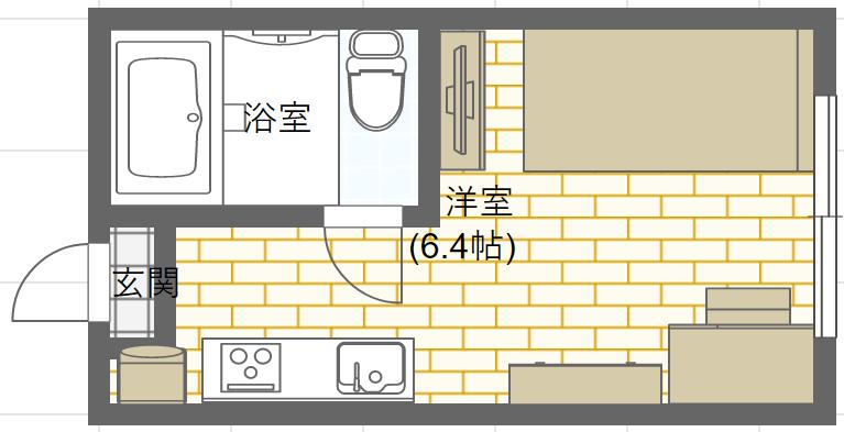 ワンルームの家具配置例