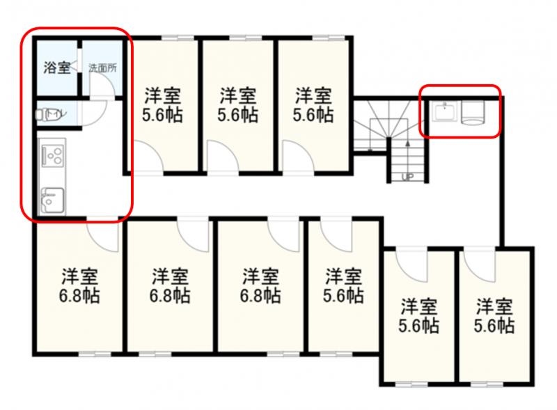 設備の数が少ないシェアハウスの例