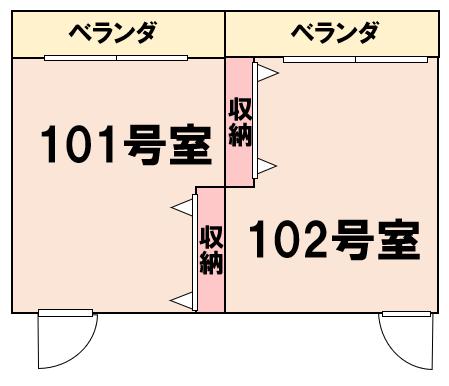 居室と居室の間に収納スペースがある間取り例