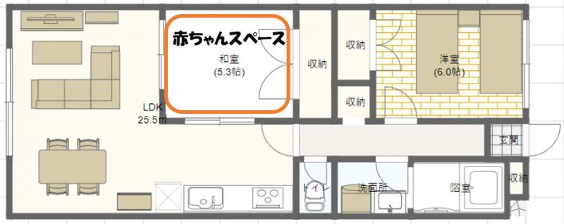 3人家族子育て_2LDKの家具配置例
