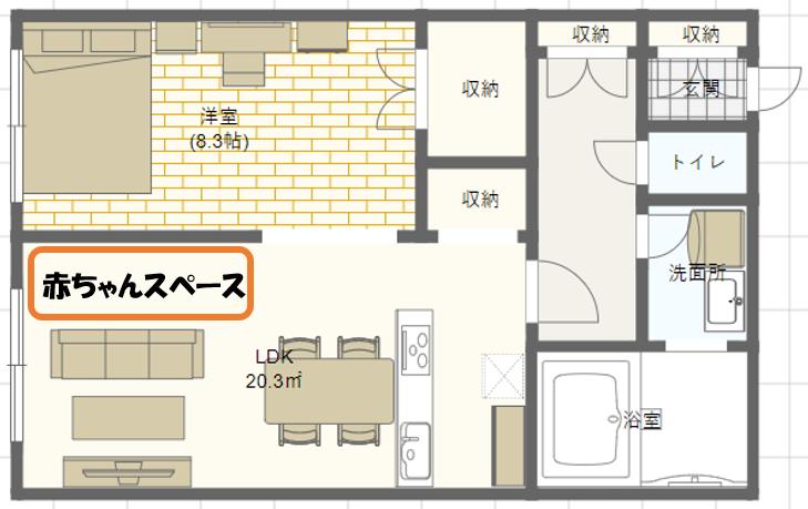 3人家族子育て_1LDKの家具配置例