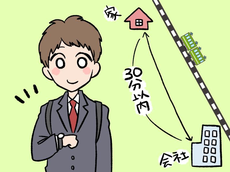 通勤時間を確認する人のイラスト