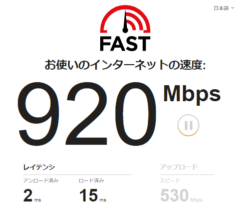 fast.comの速度計測結果