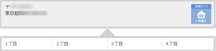 auひかり提供エリア検索町域選択画面