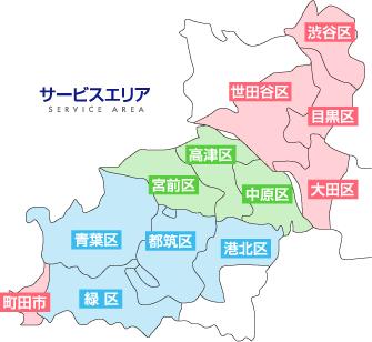 イッツコム光の対応エリアは東京と神奈川の一部地域